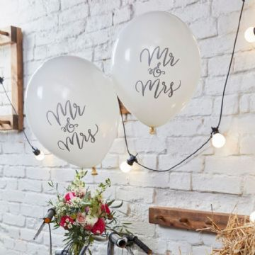 """Mr and Mrs"" White Wedding Balloons - pack of 10"
